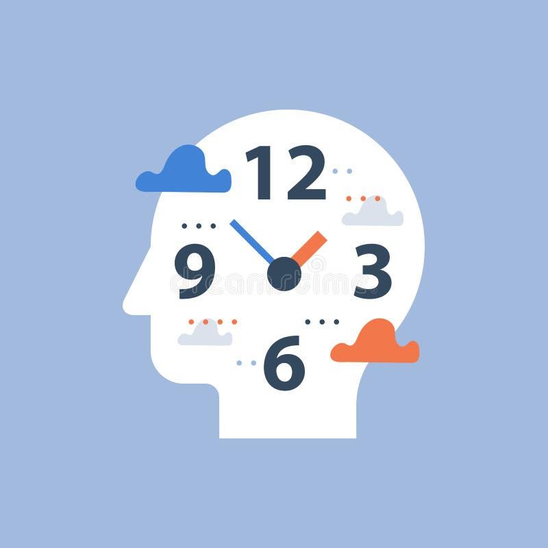 Gestion du temps, concept de temporisation, heures de travail et date-butoir, visage d'horloge et tête, planification de jour illustration de vecteur