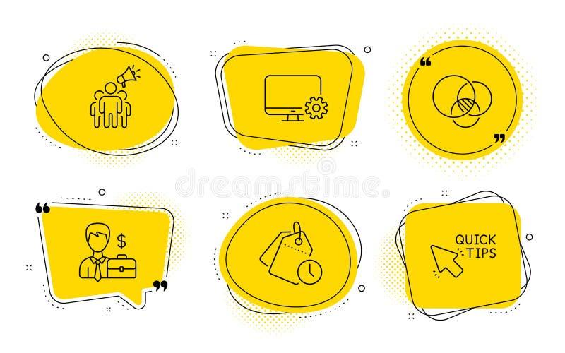 Gestion du temps, diagramme d'Euler et ensemble d'icônes de cas d'homme d'affaires Vecteur illustration stock