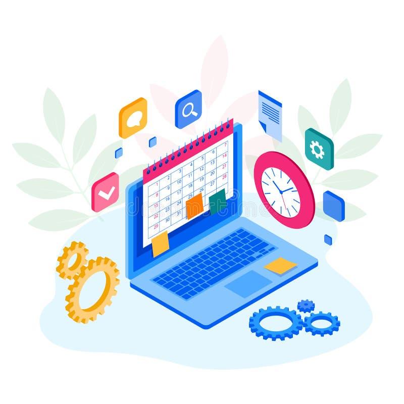 Gestion hebdomadaire isométrique d'organisation de planificateur de programme et de calendrier Appli en ligne sur le déroulement  illustration de vecteur