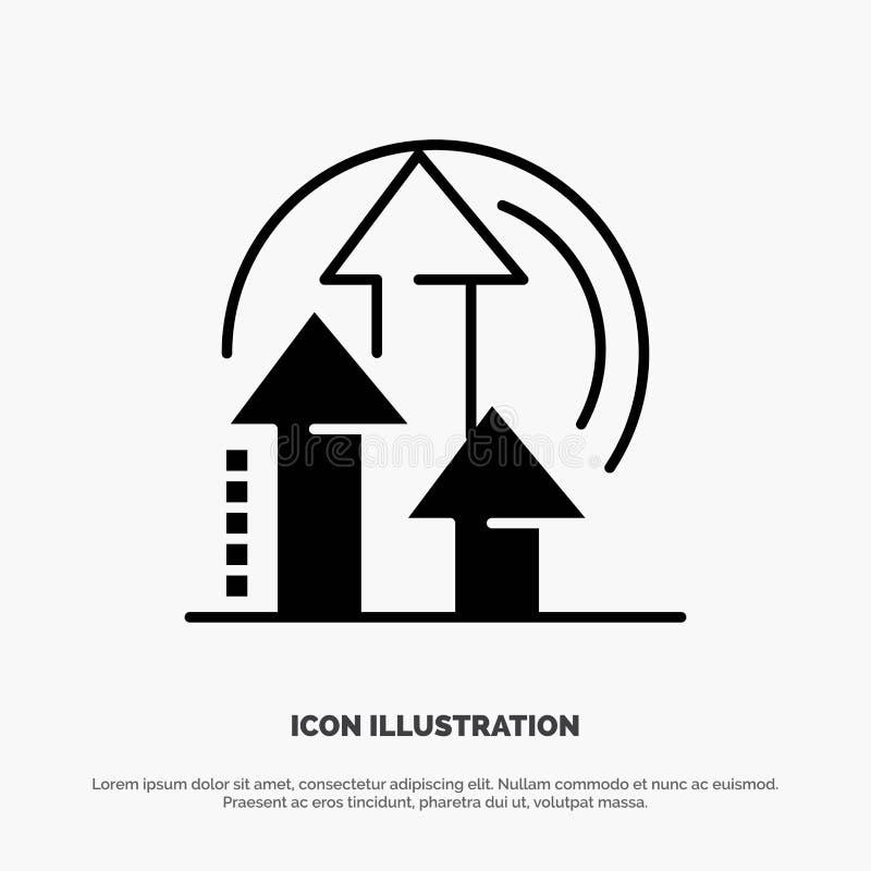 Gestion, méthode, représentation, vecteur solide d'icône de Glyph de produit illustration stock