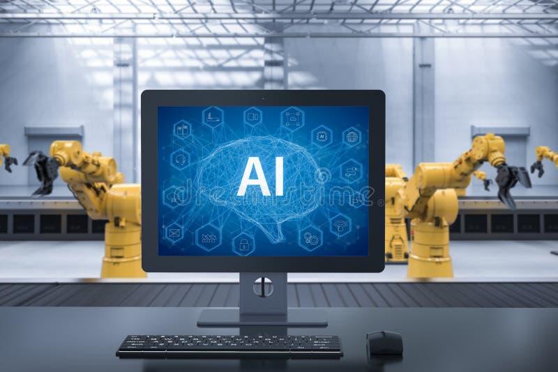 Gestion par ordinateur AI illustration stock