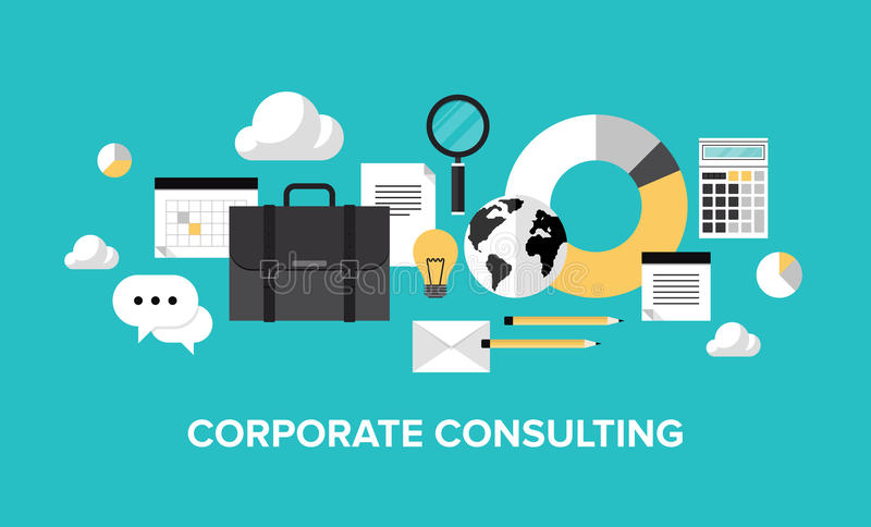 Gestione aziendale e concetto consultantesi royalty illustrazione gratis