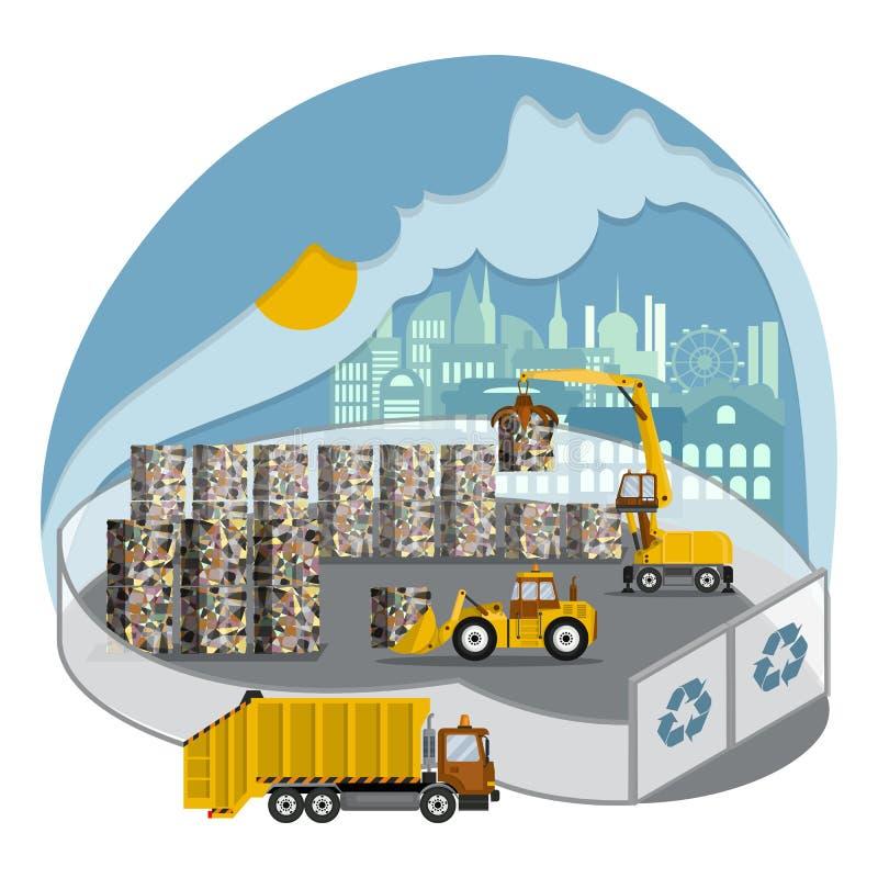 Gestione dei rifiuti solidi Stoccaggio di rifiuti e preparazione di rifiuti da riciclare in una discarica moderna royalty illustrazione gratis