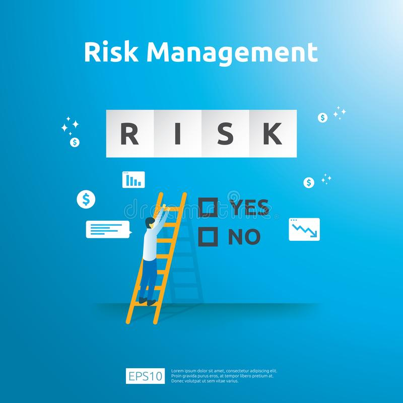 Gestione dei rischi ed identificazione finanziaria valutando e la sfida nell'affare da impedire proteggono analisi del rendimento royalty illustrazione gratis