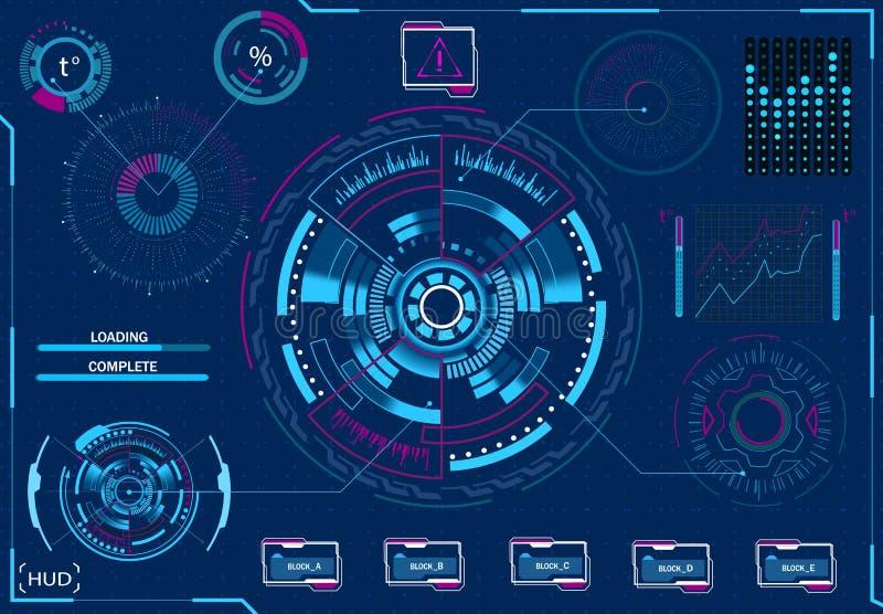 Gestione del computer Attrezzatura diagnostica Interfaccia grafica virtuale, lente elettronica, elementi di HUD Illustrazione illustrazione vettoriale