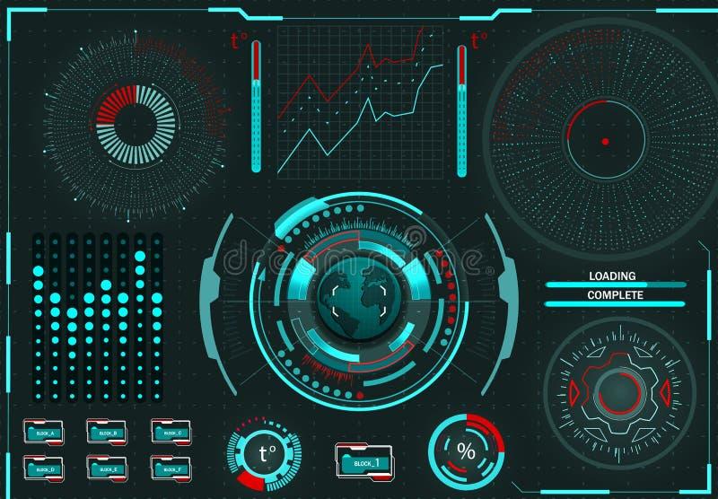 Gestione del computer Supporto diagnostico Interfaccia grafica virtuale, lente elettronica, elementi di HUD Illustrazione illustrazione di stock