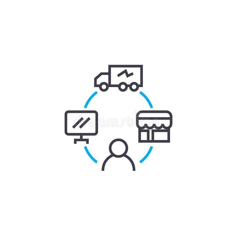 Gestione del concetto lineare dell'icona di logistica La gestione della logistica allinea il segno di vettore, simbolo, illustraz illustrazione di stock