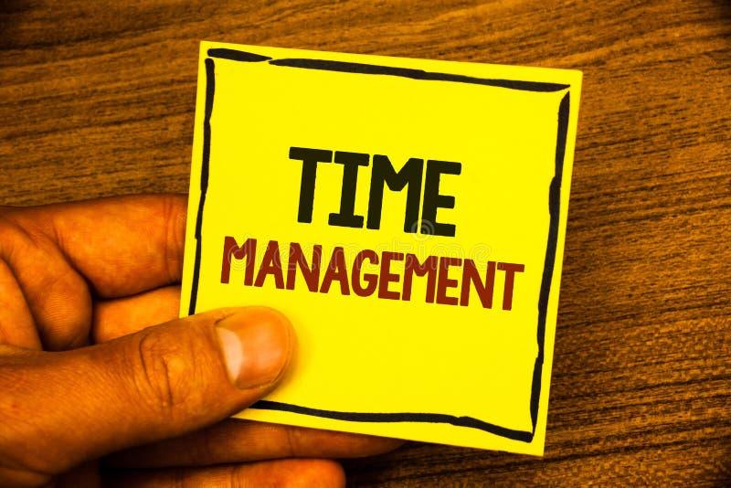 Gestione di tempo del testo di scrittura di parola Il concetto di affari per programma ha progettato per Job Efficiency Meeting D fotografie stock libere da diritti