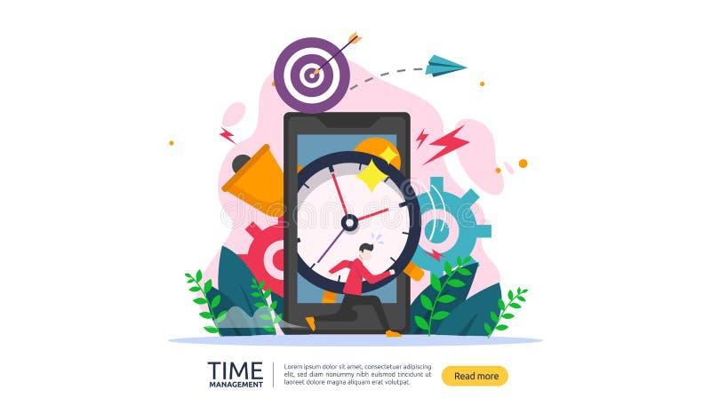 gestione di tempo e concetto di indugio pianificazione e strategia per le soluzioni di affari con l'orologio, il calendario e la  royalty illustrazione gratis
