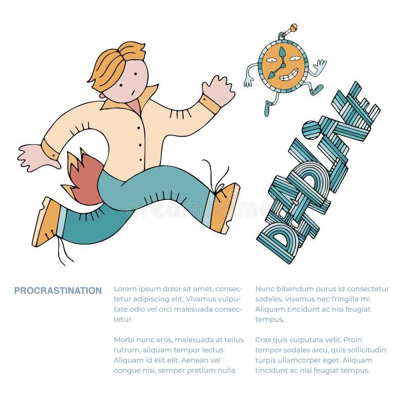 Gestione di tempo ed indugio illustrazione di stock