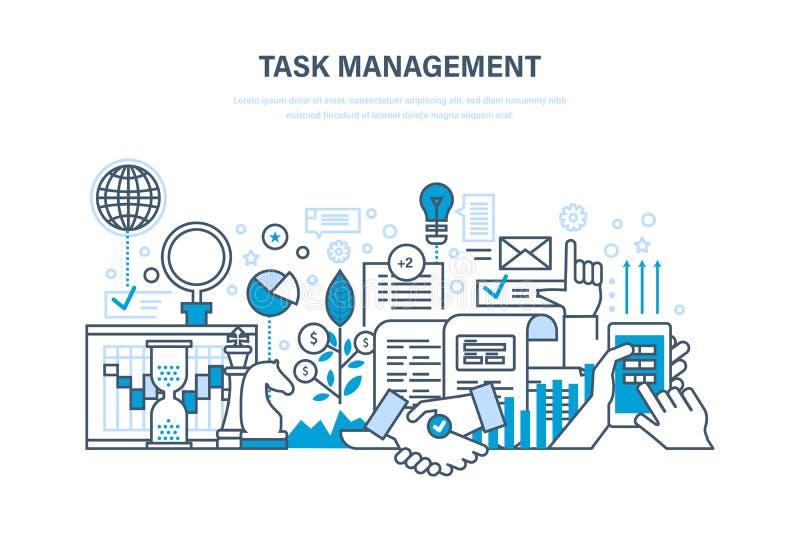 Gestione di tempo, pianificazione, analisi, ricerca, strategia di marketing e strategia aziendale royalty illustrazione gratis