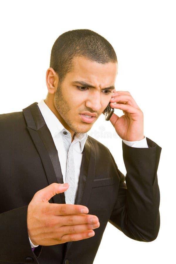 Gestionnaire avec le téléphone portable photo libre de droits
