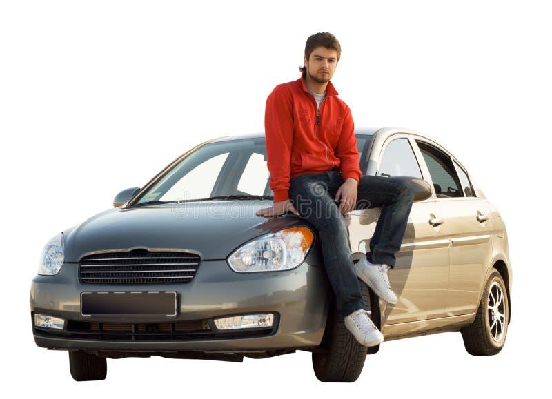 Gestionnaire de véhicule se reposant sur son véhicule photos libres de droits