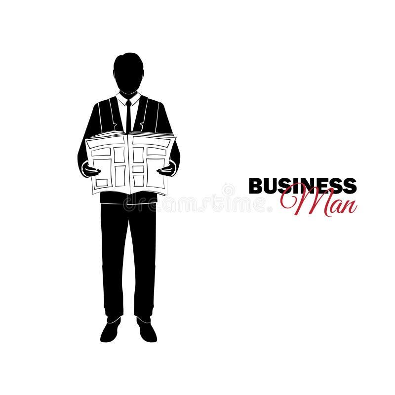 Gestionnaire Un homme dans un procès d'affaires Homme d'affaires affichant un journal illustration de vecteur