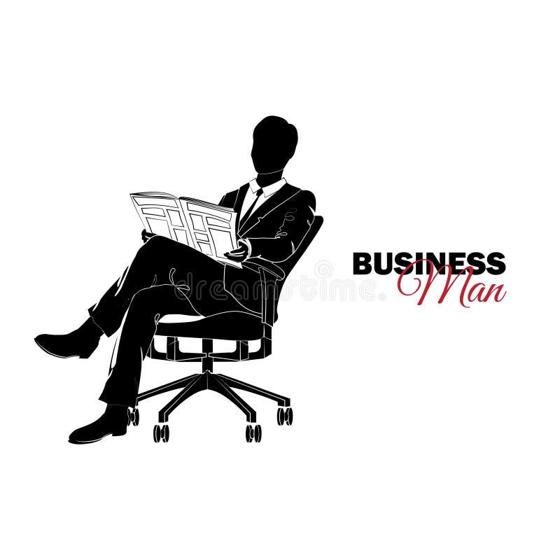 Gestionnaire Un homme dans un procès d'affaires Homme d'affaires s'asseyant dans une chaise lisant un journal illustration de vecteur