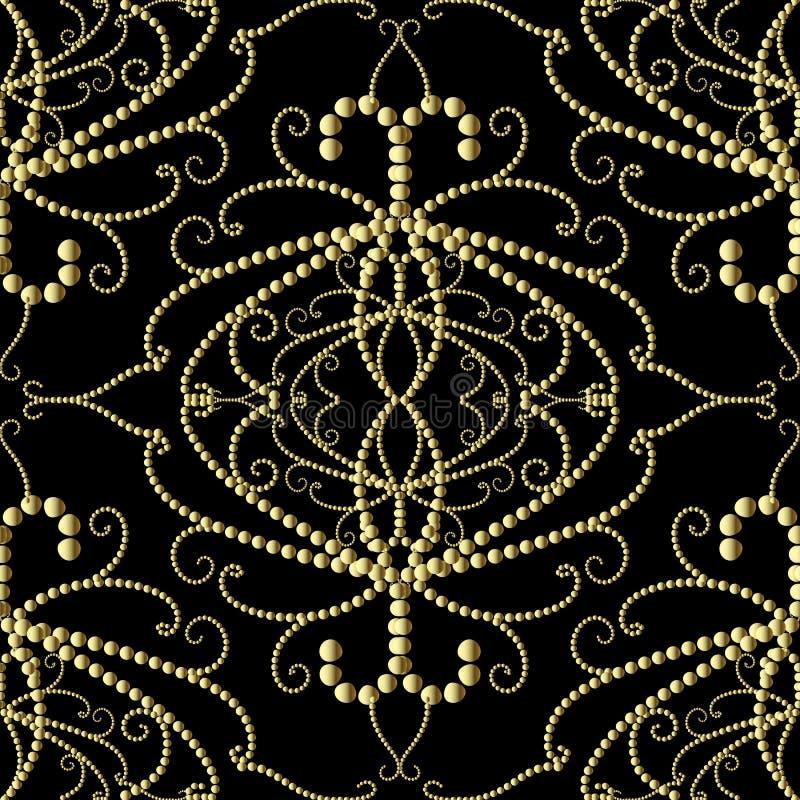 Gestippeld gouden 3d Damast vector naadloos patroon stock illustratie