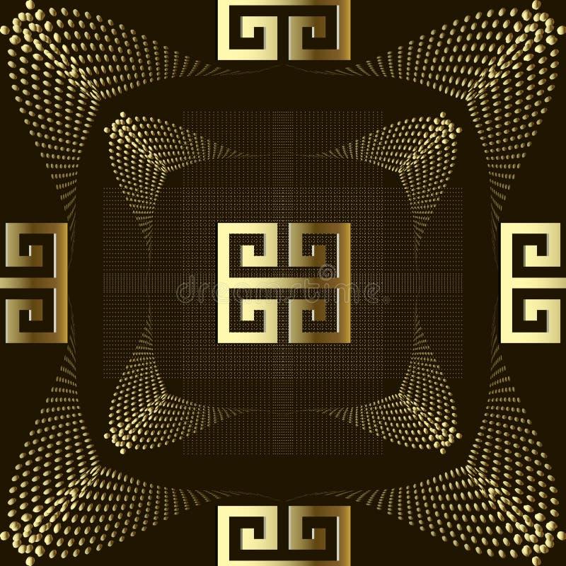 Gestippeld gouden 3d Grieks stijl vector naadloos patroon Moderne ornam royalty-vrije illustratie