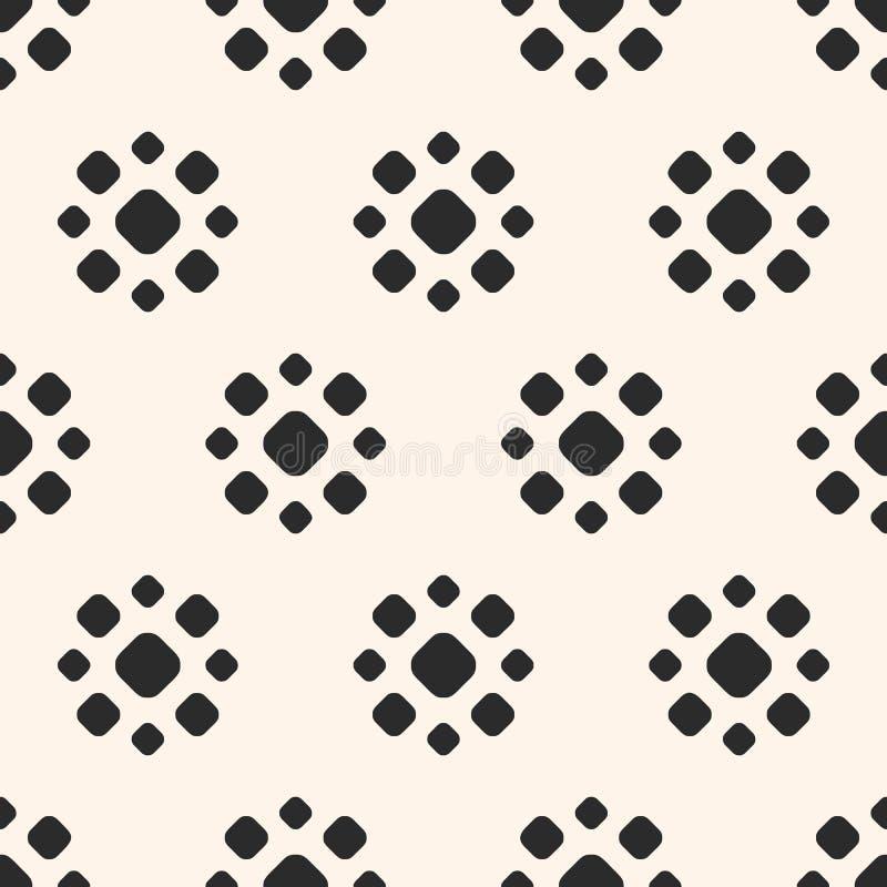 Gestippeld naadloos patroon Eenvoudige bloemen geometrische textuur royalty-vrije illustratie