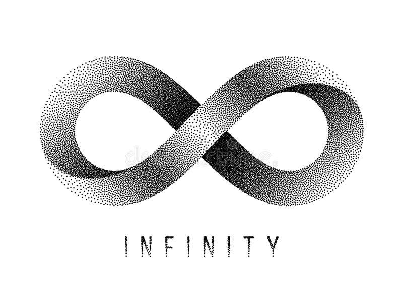 Gestippeld Oneindigheidsteken Het symbool van de Mobiusstrook Vector illustratie vector illustratie