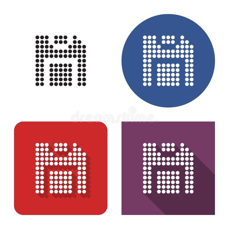 Gestippeld pictogram van diskette in vier varianten stock illustratie