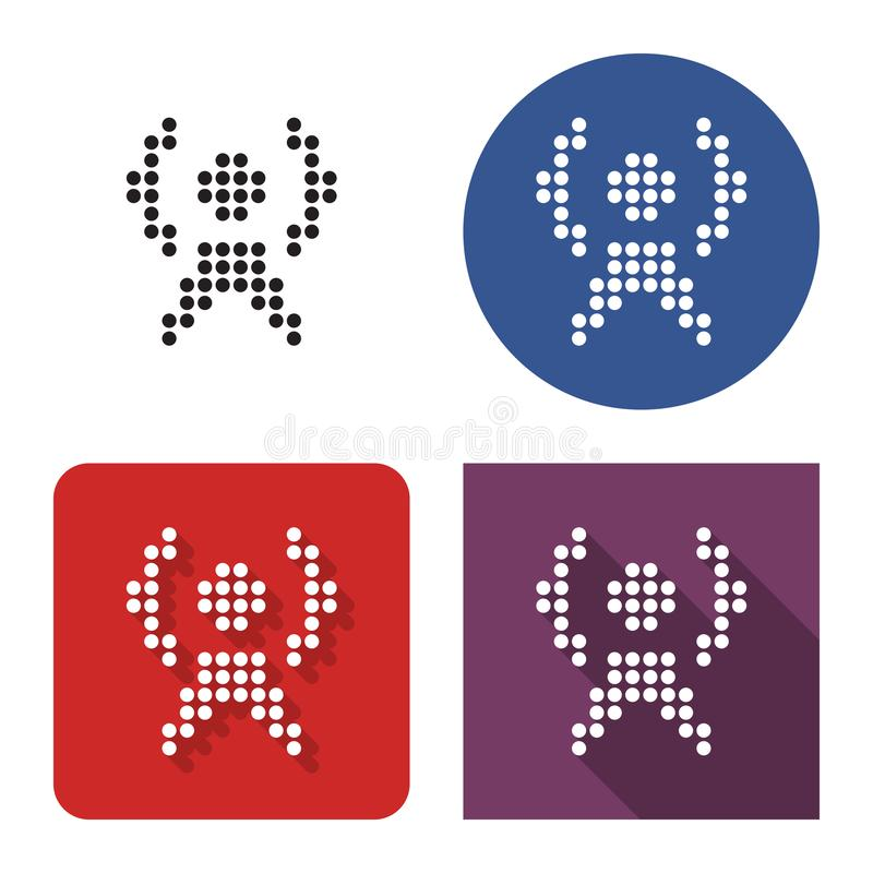 Gestippeld pictogram van radiorepeater in vier varianten stock illustratie