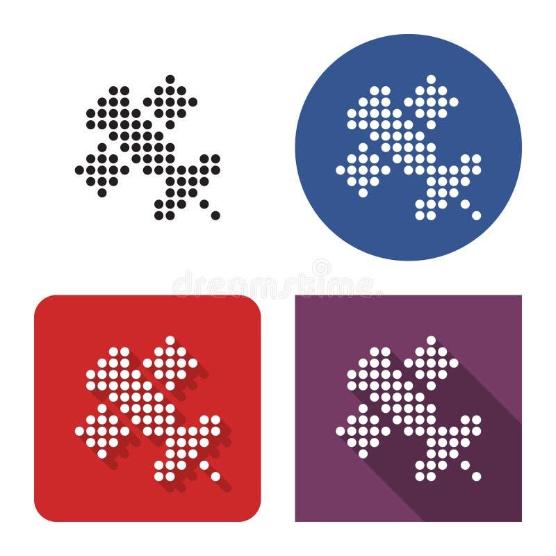 Gestippeld pictogram van satelliet in vier varianten vector illustratie