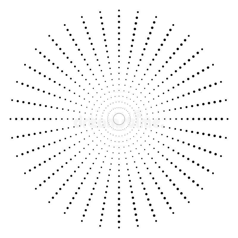 Gestippeld radiaal element Cirkel, cirkelpatroonvorm stock illustratie