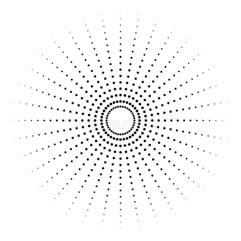 Gestippeld radiaal element Cirkel, cirkelpatroonvorm royalty-vrije illustratie