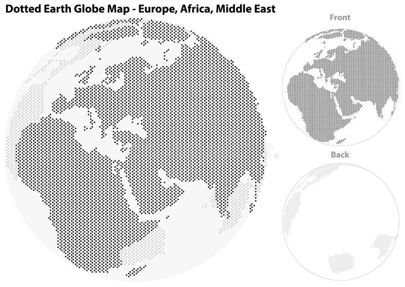 Gestippelde Aardebol met Centrale Mening van Europa royalty-vrije illustratie