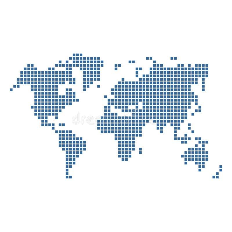 Gestippelde Blauwe Wereldkaart die op Wit wordt geïsoleerd Vector stock illustratie