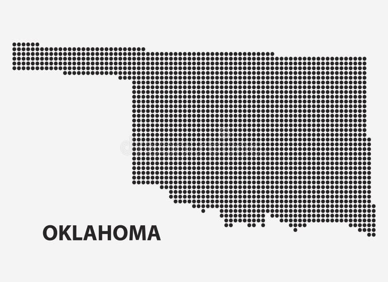 Gestippelde kaart van de Staat Oklahoma Vector illustratie stock illustratie