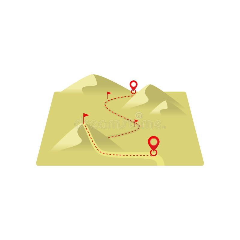 Gestippelde lijnroute aan bestemming door zandduinen met tekens royalty-vrije illustratie