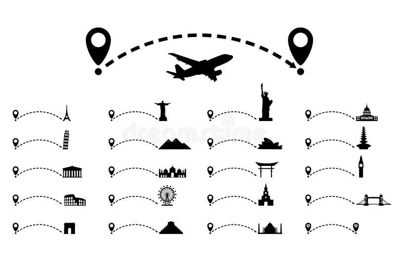 Gestippelde lijnweg met kaartwijzer, culturele aantrekkelijkheid reis concept royalty-vrije illustratie