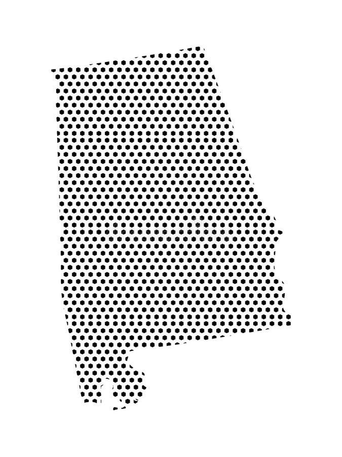 Gestippelde Patroonkaart van de Staat van de V.S. van Alabama royalty-vrije illustratie