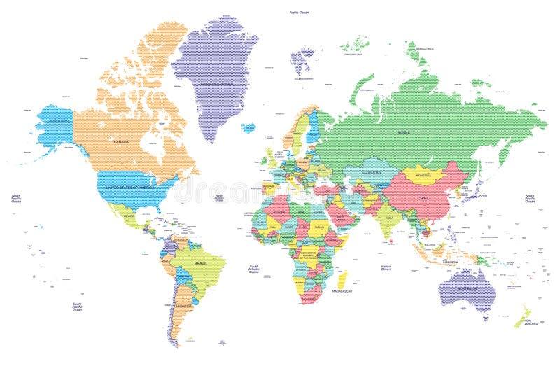 Gestippelde politieke wereldkaart met kapitalen vector illustratie