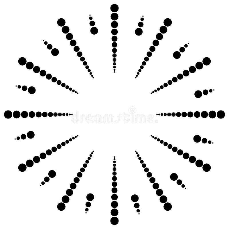 Gestippelde radiaal, uitstralend lijnen Cirkelpuntenmotief Abstracte bl stock illustratie