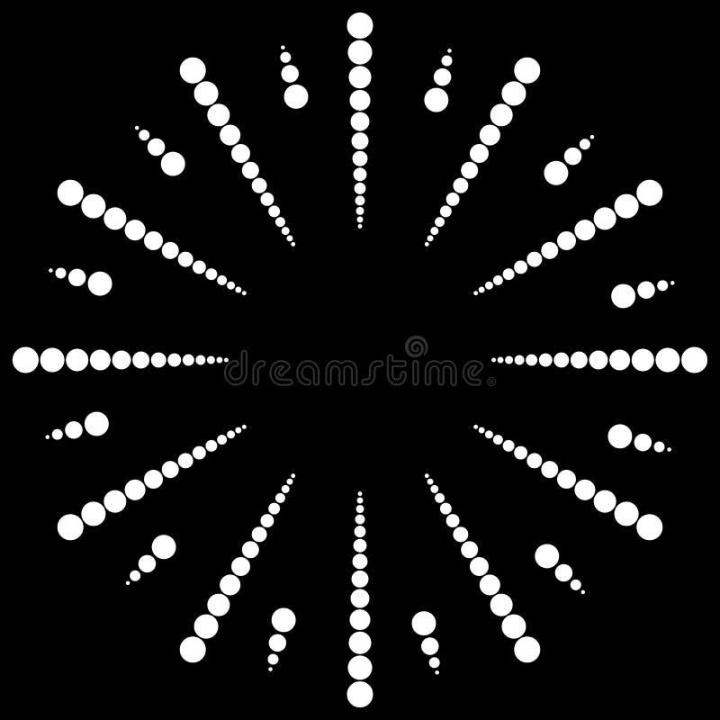 Gestippelde radiaal, uitstralend lijnen Cirkelpuntenmotief Abstracte bl vector illustratie
