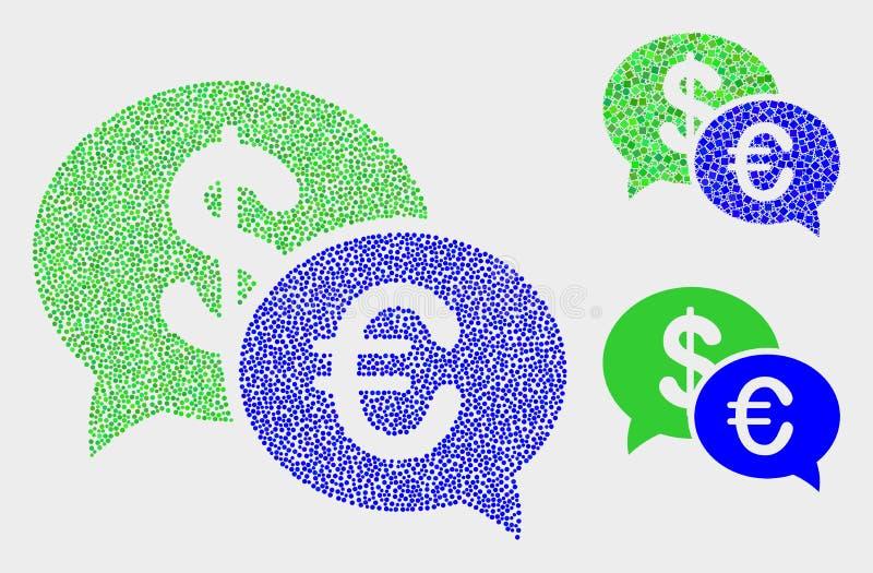 Gestippelde Vector Financiële Praatjepictogrammen vector illustratie