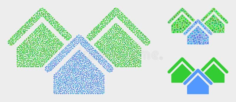 Gestippelde Vectorhuizenpictogrammen stock illustratie