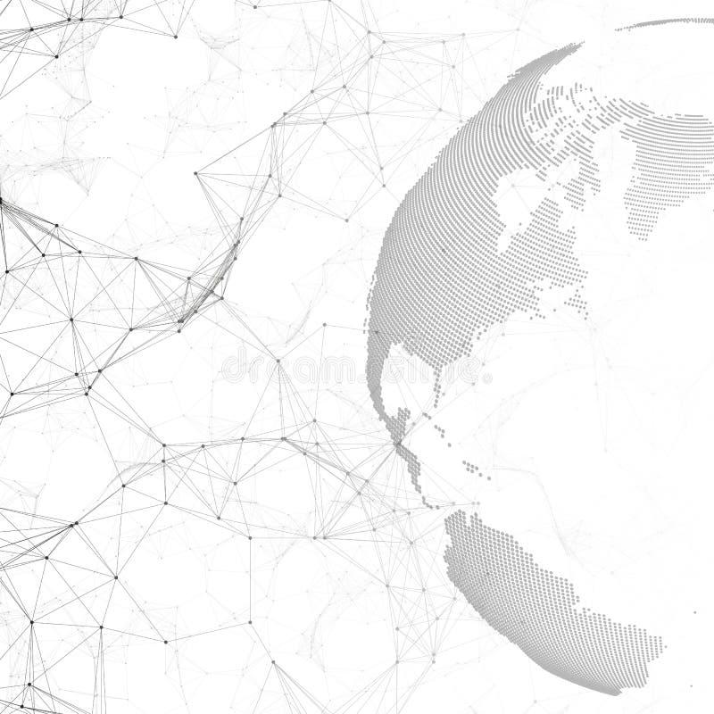 Gestippelde wereldbol, verbindingslijnen en punten, chemie moleculair patroon, molecules op witte achtergrond molecule royalty-vrije illustratie