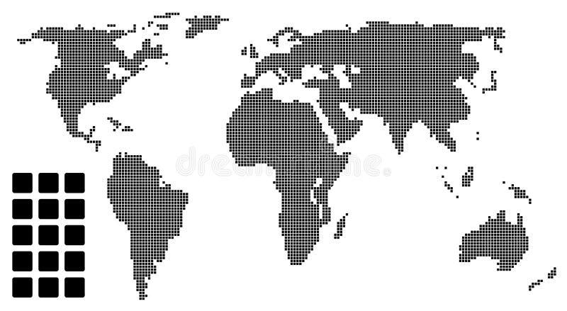 Gestippelde wereldkaart (pixel) stock illustratie
