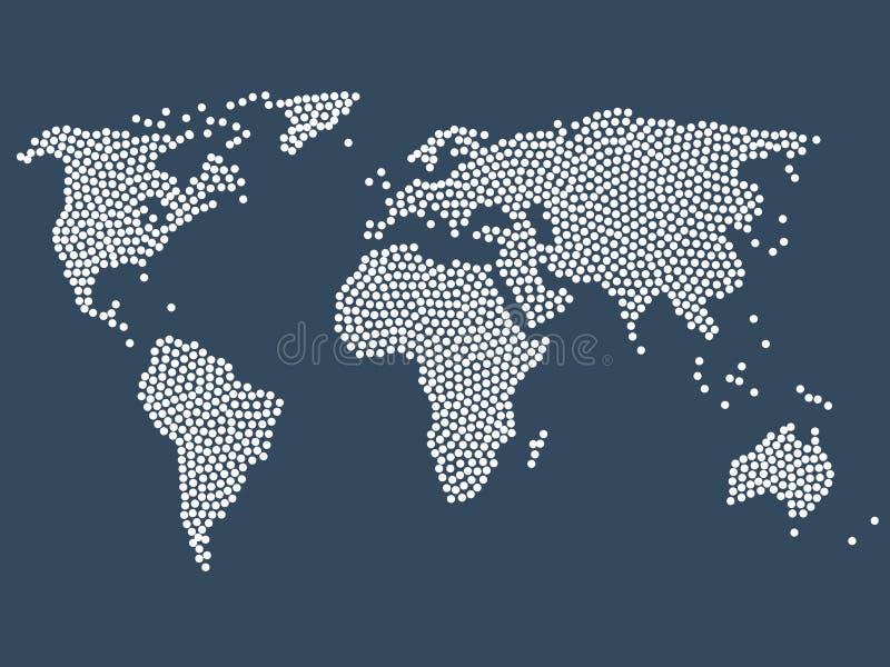 Gestippelde wereldkaart, voorraad vectorillustratie vector illustratie