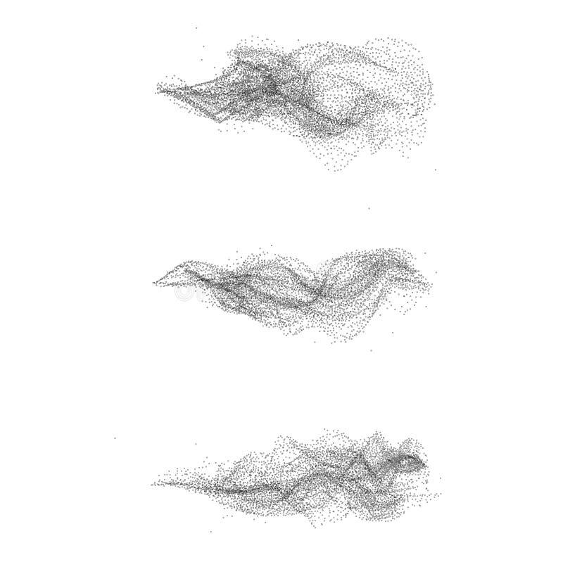 Gestippelde zwarte rookreeks stock illustratie