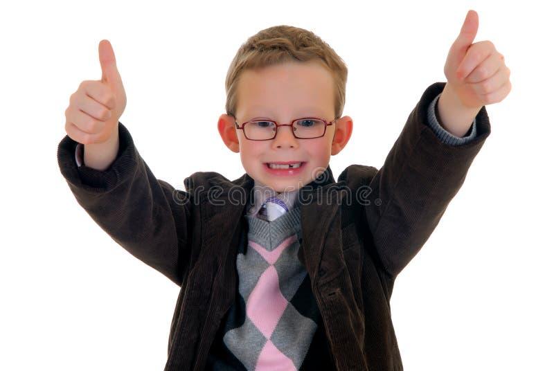 Gesto bem sucedido da aprovação da criança fotografia de stock