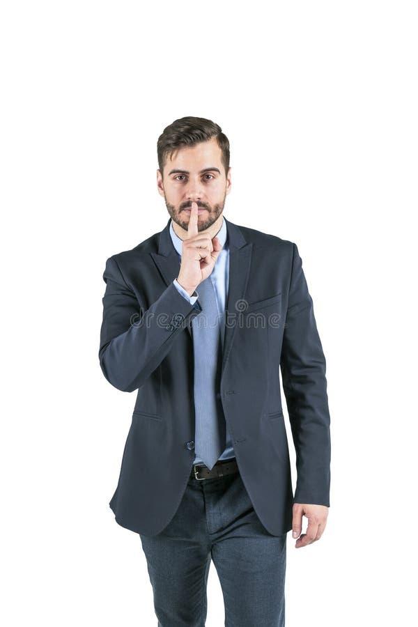 Gesto calmo silenzioso dell'uomo d'affari fotografie stock libere da diritti