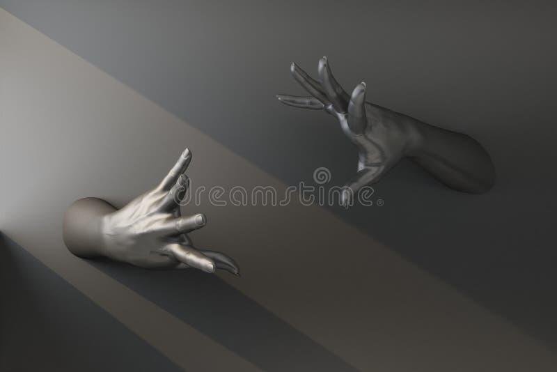 Gesto con dos manos negras que sostienen un invisible ilustración del vector