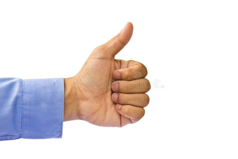 Gesto da aprovação da mão de homem de negócio foto de stock