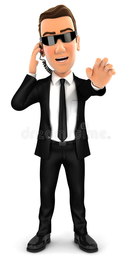 gesto da parada do agente de segurança 3d ilustração royalty free