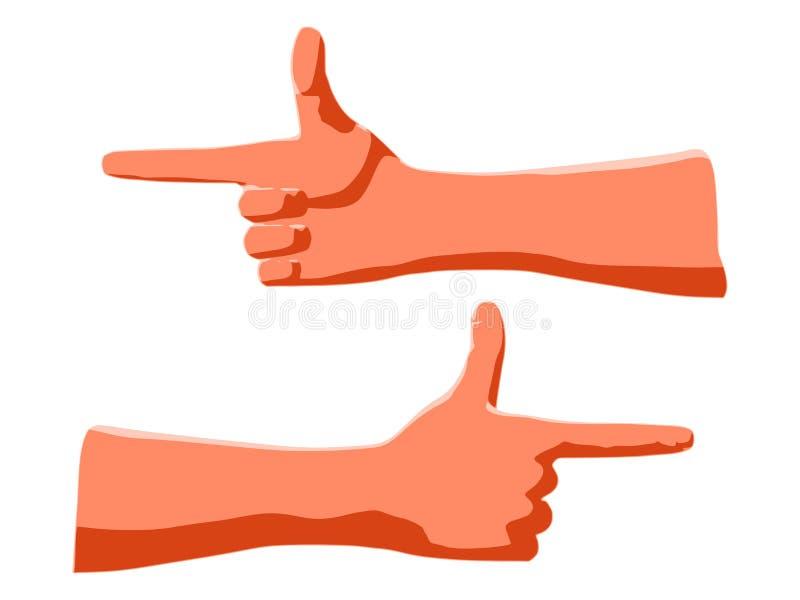 Gesto dal dito indice e dal pollice affinchè comunicazione mostrino direzione illustrazione vettoriale