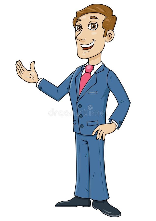 Gesto de acolhimento do homem de negócios feliz ilustração royalty free